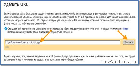 Удаление страницы в Яндекс выдаче
