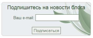 форма подписки вариант 1