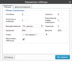 параметры таблицы