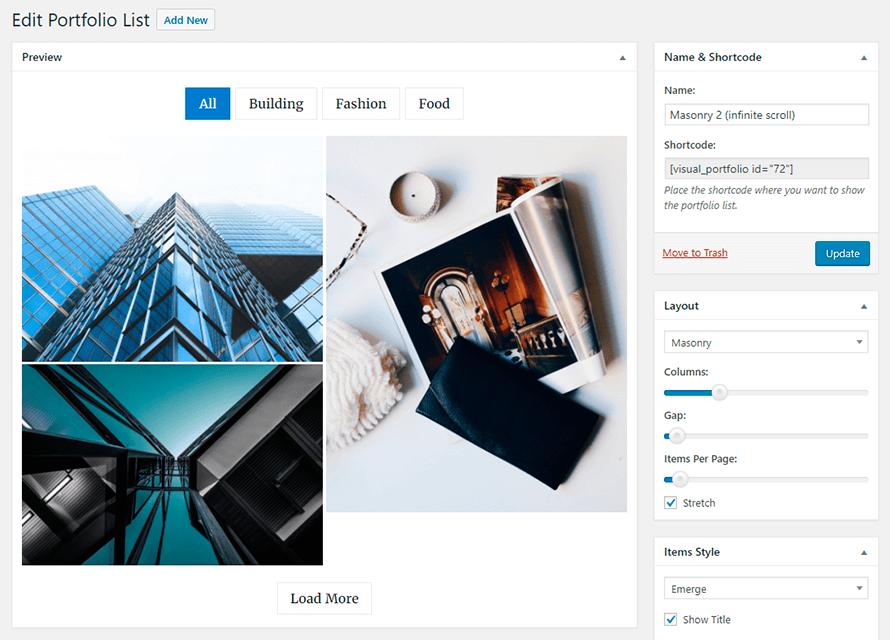 Редактирование элементов портфолио в Visual Portfolio